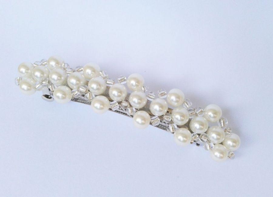 spinka do włosów białe perełki