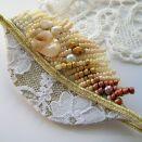 Perłowa jesień - broszka beading