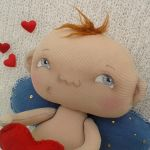 AMOREK, CHERUBINEK, ANIOŁEK lalka - dekoracja tekstylna, OOAK - amorek na prezent