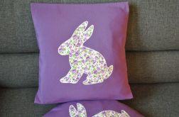 Fioletowa poszewka dekor. z dużym królikiem