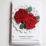 Kartka Ślubna - czerwone róże - Kartka Ślubna - czerwone róże