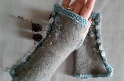 rękawiczki mitenki z guziczkami