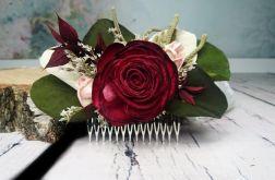 Grzebyk eukaliptus bordo pudrowy róż