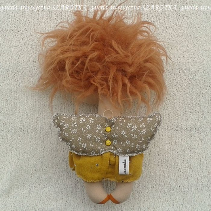 ANIOŁEK lalka - dekoracja tekstylna, OOAK /16 - tak wyglądam z tyłu