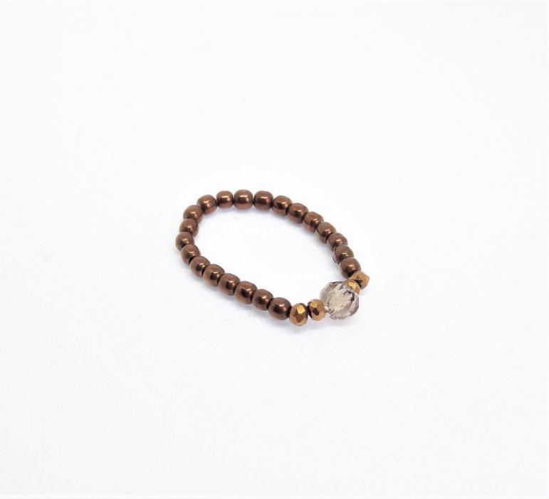 Pierścionek elastyczny z brązowych hematytów4