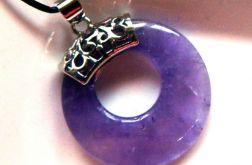 Ametyst fioletowy z dziurką, donut, wisiorek