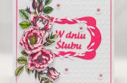 Kartka ślubnaz kwiatami KS1906