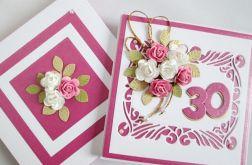 Kartka ROCZNICA ŚLUBU różowo-biała
