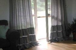 Zasłony lniane szare z falbankami