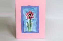 Kartka uniwersalna różowa z kwiatkiem 10