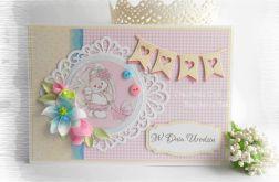 Kolorowa kartka z różowym króliczkiem