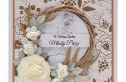 Kartka ślubna wianek z różami - złote kwiaty