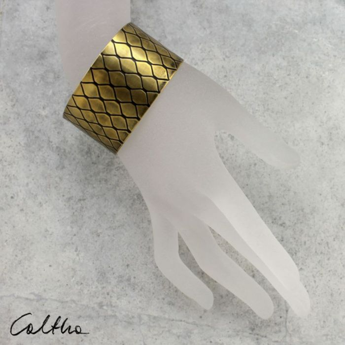 Smocza łuska - mosiężna bransoleta 151223-07 - Szeroka bransoletka