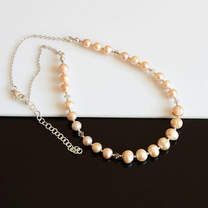 Złociste perły - naszyjnik - perły i srebro
