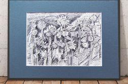 Dziki ogród - czarno biały rysunek