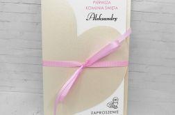 Zaproszenie na komunię dla dziewczynki serce z różową wstążką ZKS 013