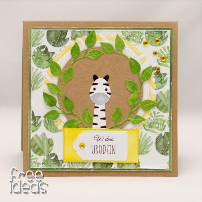 Kartka urodzinowa z zebrą KU1915 - dżungla