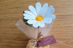 Margaretka - kwiat z filcu - żółta doniczka