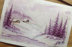 Obraz na ścianę do salonu akwarela zima las