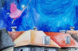 """""""NOCĄ.."""" akwarela, surrealizm, pejzaż miejski"""