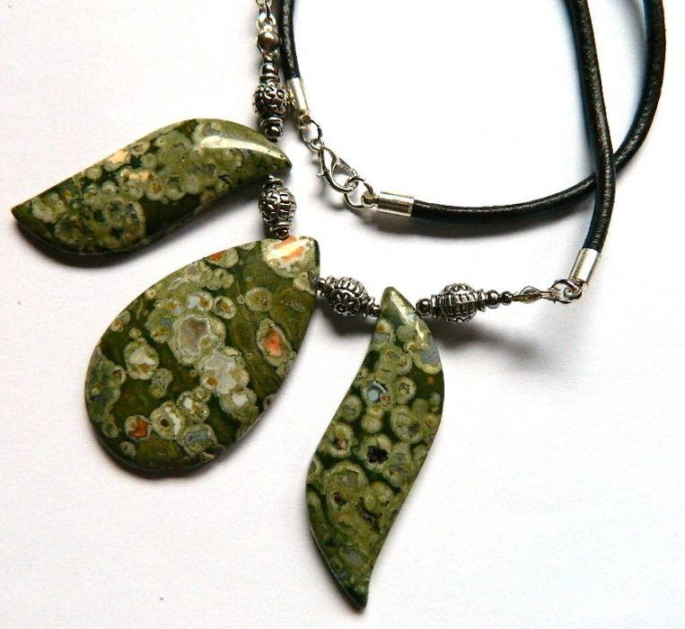 Zielony Jaspis Kambaba, unikatowa kolia -