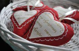 Bordowe romantyczne serduszko - Boże Narodzenie