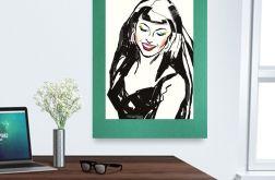 30x40cm plakat z dziewczyną na zielonym tle