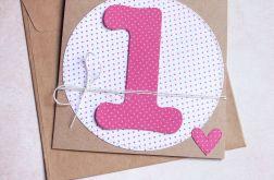 na roczek - kartka handmade dla dziewczynki