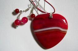 Agat, czerwone serce, komplet w srebrze