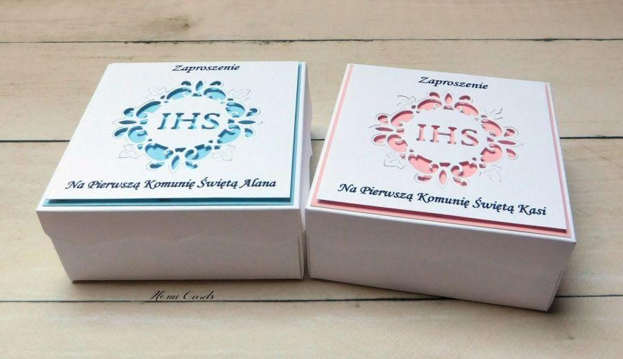 Zaproszenia na Komunię pudełka # IHS # 2