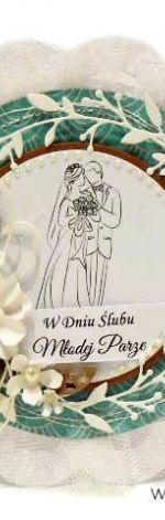 Kartka ślubna turkusowa z Parą Młodą