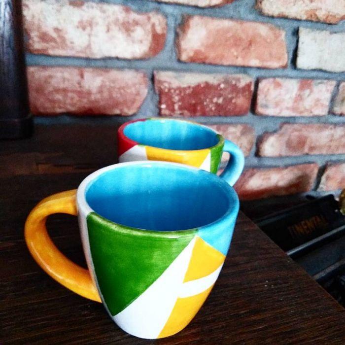 Kolorowe, ceramiczne filiżanki do espresso  -