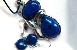 Lapis lazuli, wisiorek z kotkiem i kolczyki