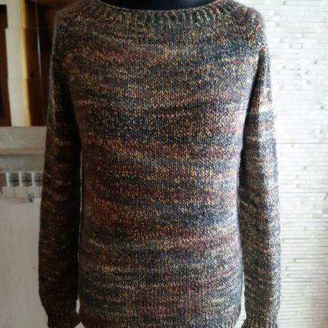 kolorowy luźny sweter bawełna i wełna s/m