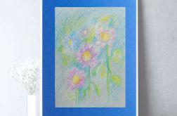 Rysunek z kwiatami granatowym tle nr 5