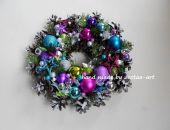 Kolorowy świąteczny wianek, stroik -  29cm