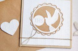 kartka komunijna : gołąb : biel : eko