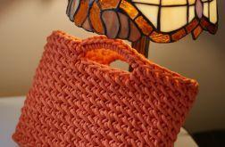 Mała torebka na szydełku ze sznurka pomarańczowa