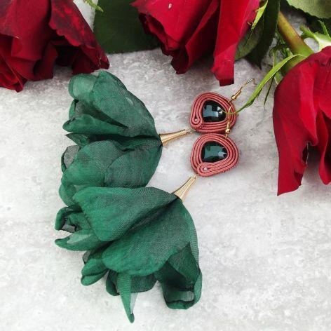 Fiona 1 - kwiatowe kolczyki sutaszowe