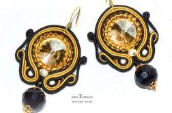 kolczyki sutasz kryształami rivoli złoto i czarny