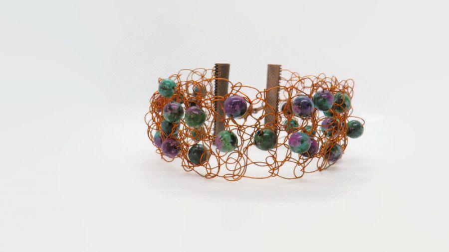 Energetyczna bransoletka z miedzi i zoisytem - Miedziana bransoletka