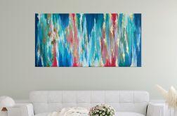 """Kolorowa abstrakcja """"Golden Rainbow"""" 70x140 cm"""