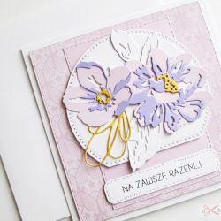 Kartka NA ŚLUB fioletowo-różowa