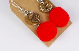 Kkolczyki czerwone pompony