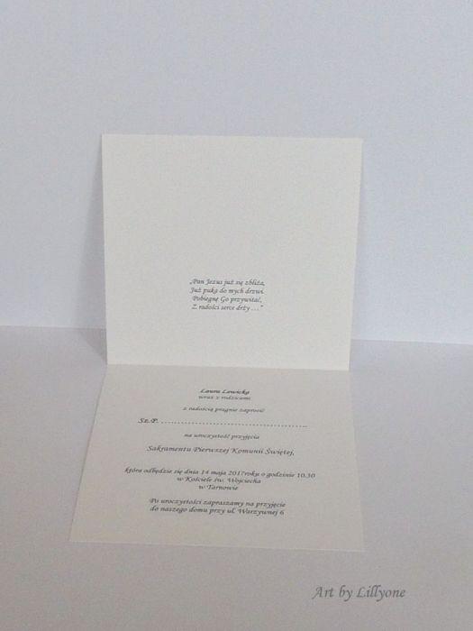 Delikatne zaproszenie na I Komunię Świetą