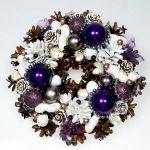 Mały wianek świąteczny biały z fioletem