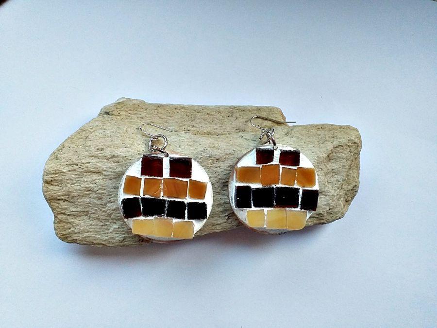 Kolczyki mozaika , bursztynowe koła