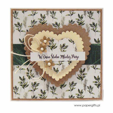 Kartka ślubna serca i liście w stylu boho