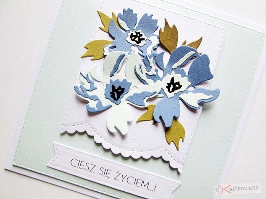 Kartka UNIWERSALNA z niebieskimi kwiatami - Kartka na różne okazje z niebieskimi kwiatami