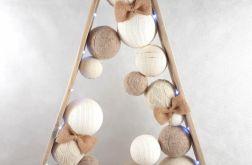 Drewniana choinka z palet w beżach LED 96 cm